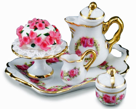 Reutter Porcelain English Rose Coffee Set With Cake 1:12 scale
