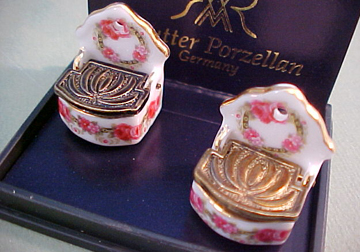 Reutter Porcelain Miniature Roseband Salt Boxes 1:12 scale