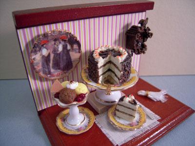 Reutter Porcelain Miniature Black Forest Cake Vignette 1:12 scale