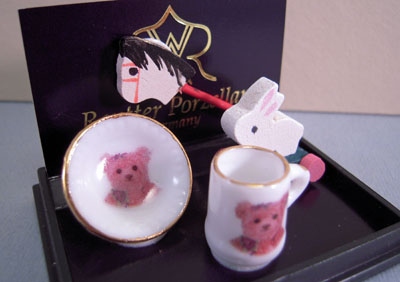 Reutter Porcelain Teddy Dishes And Toys 1:12 scale