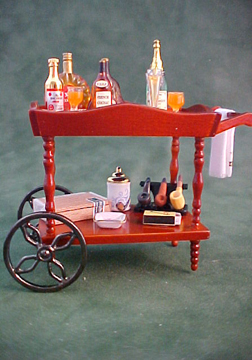 Filled Liquor Serving Cart 1:12 scale