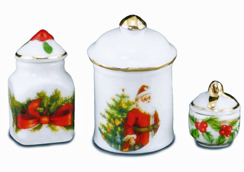 Reutter Porcelain Christmas Three Piece Canister Set 1:12 scale