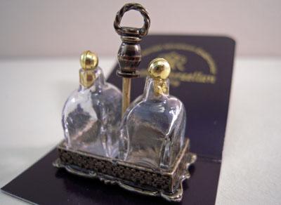 Reutter Porcelain Glass Brandy Bottles with a Stand 1:12 scale