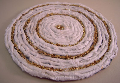 Miniature Handcrafted White and Gold Rag Rug 1:12 scale