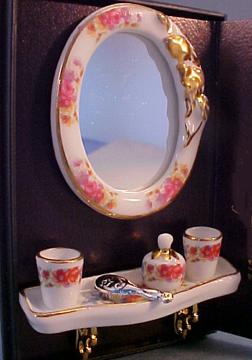 Reutter Porcelain Dresden Rose Bath Mirror Set 1:12 scale