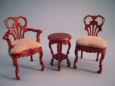 & Bespaq 3 Piece Walnut Fair Lady Gossip Chair Set 1:24 scale