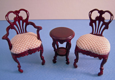 & Bespaq 3 Piece Mahogany Fair Lady Gossip Chair Set 1:24 scale