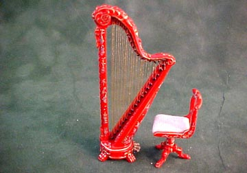 Bespaq Red Hand Painted Chinoiseries Harp and Stool 1:24 scale