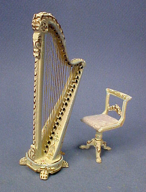 Bespaq Hand Painted Dauphine Harp and Stool 1:24 scale