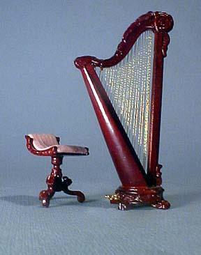 Bespaq Mahogany Harp and Stool 1:24 scale