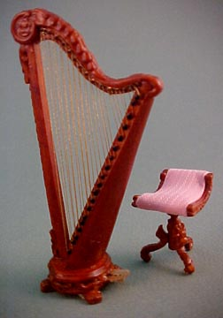 Bespaq Palais Walnut Harp and Stool 1:24 scale