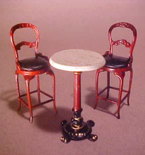 Bespaq Mahogany Bistro Tall Table Set 1:24 scale