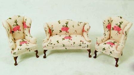 Fabulous 1 24 Scale Rose Three Piece Sofa Set Cjindustries Chair Design For Home Cjindustriesco