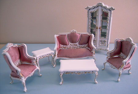 Miniature Six Piece Fancy White with Gold Living Room Set 1:24