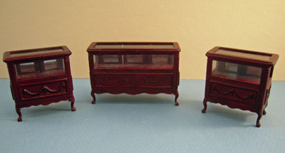 Bespaq Mahogany Three Piece Shoppe Display Case Set 1:24 scale