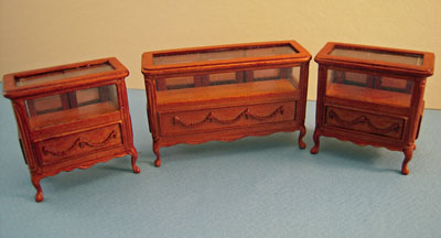 Bespaq Walnut Three Piece Shoppe Display Case Set 1:24 scale