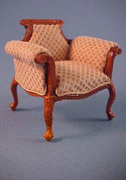 Bespaq Walnut Emporium Beige Vanity Chair 1:24 scale