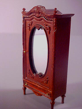 Edwardian Wardrobe, Mahogany, Miniature 1:24 scale