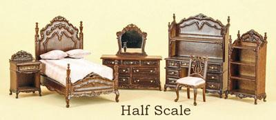 Bespaq 6 Piece Walnut Liliana Chantal Youth Bed Set 1:24 scale