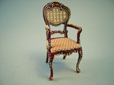 Bespaq Miniature Caned Back Hand Painted Portia Mahogany Arm Chair 1:24 scale