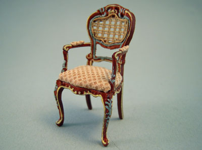Bespaq Miniature Caned Back Hand Painted Portia Walnut Arm Chair 1:24 scale