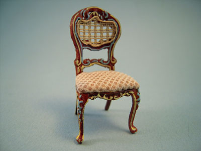 Bespaq Miniature Hand Painted Walnut and Beige Portia Side Chair 1:24 scale