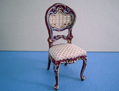 Bespaq Miniature Beige Mahogony Hand Painted Portia Side Chair 1:24 scale