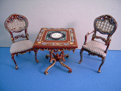 Bespaq Miniature Hand Painted Walnut Portia Gaming Table Set/3 1:24 scale