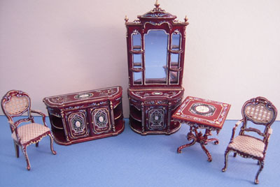 Bespaq Miniature Hand Painted Mahogany Portia Collector's Set 1:24 scale