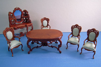 Bespaq 6 Piece Walnut Rose Wisteria Dining Set With Arm Chairs 1:24 Scale