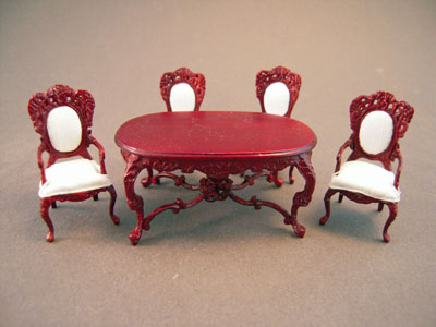 Bespaq 5 Piece Mahogany Rose Wisteria Dining Set 1:24 scale