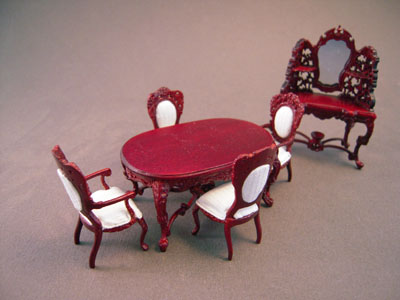 Bespaq 6 Piece Mahogany Rose Wisteria Dining Set 1:24 scale