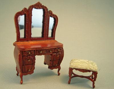 Bespaq Walnut Mi Lady's Vanity and Bench 1:24 scale