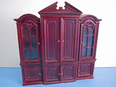 Bespaq 3 Piece Mahogany Gallery Library Bookcase Set 1:24 scale