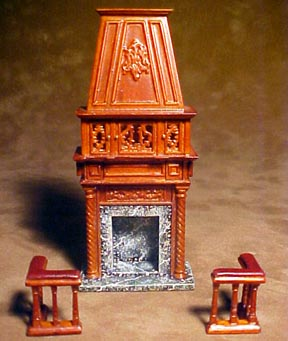 Bespaq Revival Gallery Walnut Fireplace 1:24 scale