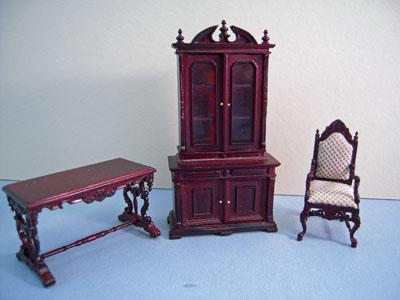 Bespaq Mahogany Chestney 3 Piece Library Set 1:24 scale