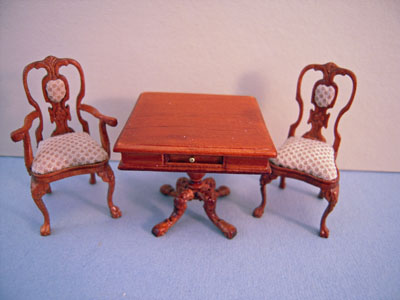 Bespaq 3 Piece Portia Walnut Game Table Set 1:24 scale