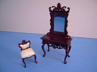 Bespaq Mahogany Fantasy Lyre Vanity and Chair 1:24 scale