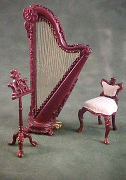 Bespaq Fantasy Lyre Mahogany 3 Piece Harp Set 1:24 scale
