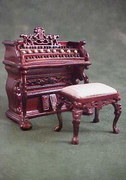 Bespaq Mahogany Fantasy Lyre Bombe Organ Set 1:24 scale