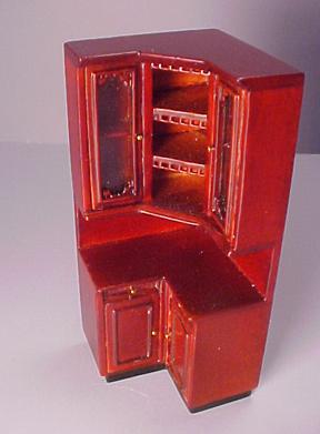 Bespaq Provencial Mahogany Kitchen Cabinet Corner Unit 1:24 scale