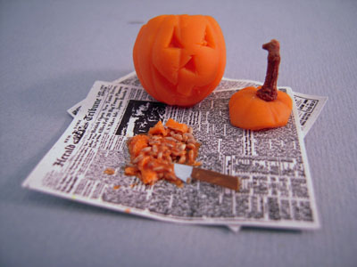 All Through The House Handcrafted Carving a Jack O'Lantern Set 1:24 scale