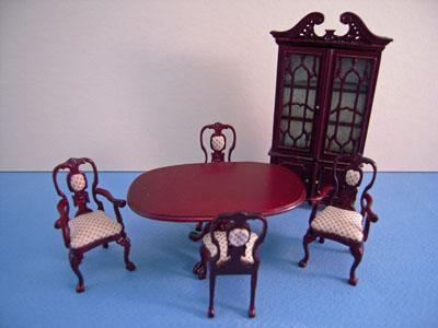 Bespaq 6 Piece Mahogany Carrington Dining Room Set 1:24 scale