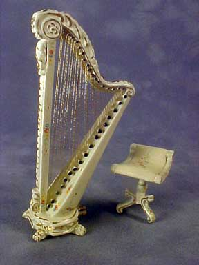 Bespaq Hand Painted Palais Wildflower Harp and Stool 1:24 scale