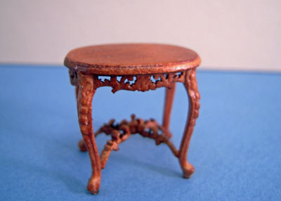 Bespaq Riverton Walnut Oval Carved End Table 1:24 scale