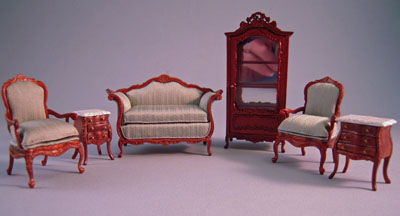 cool 12 scale dollhouse living room set | Bespaq Walnut 6 Piece Benoit Bombe Sofa Set 1:24 scale