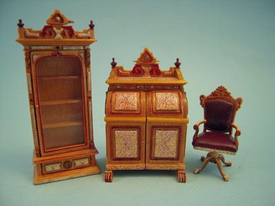Bespaq Hand Painted 3 Piece Cabinet Desk Set 1:24 scale