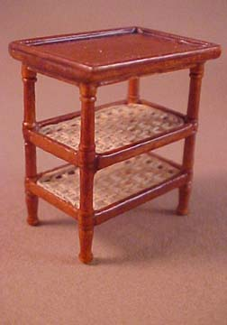 Bespaq Walnut French Country Amise Caned Side Table 1:24 scale