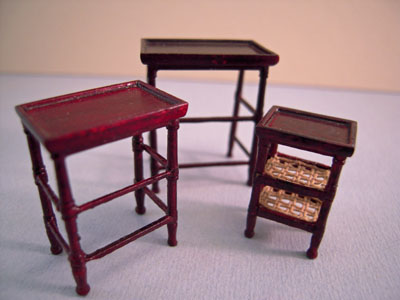 Bespaq French Country Amise Mahogany Nesting Tables 1:24 scale