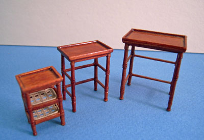 Bespaq French Country Amise Walnut Nesting Tables 1:24 scale